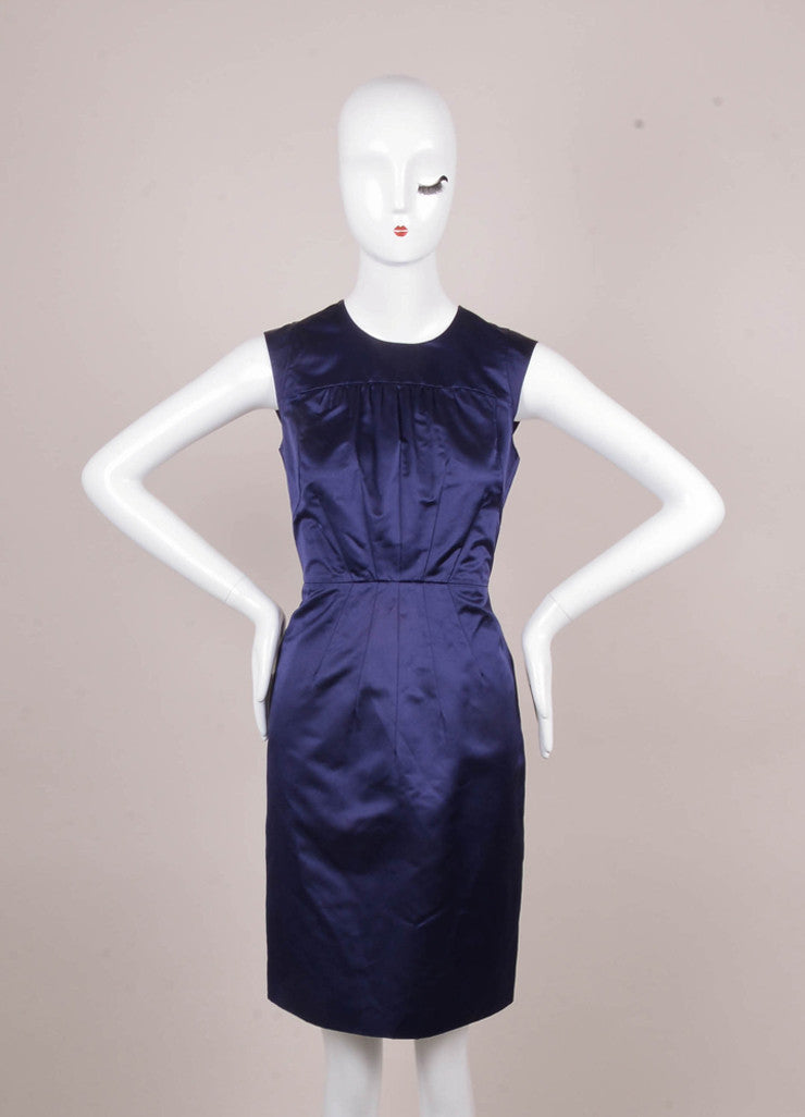 Navy Silk Fitted Gathered Bust Sleeveless Sheath Dress