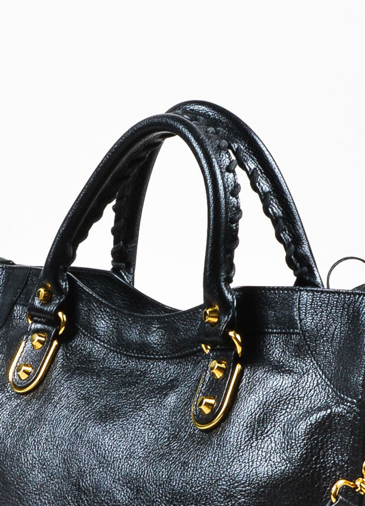 "Balenciaga Black Leather Gold Toned Hardware ""Metallic Edge City"" Shoulder Bag Detail 2"