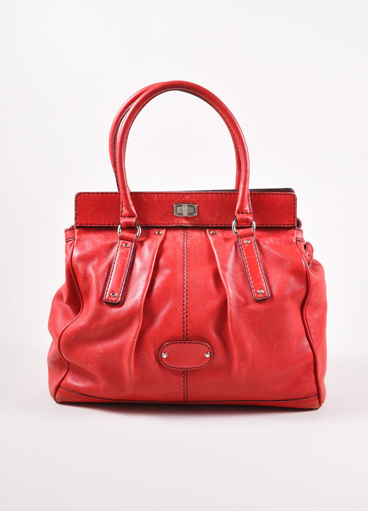 Balenciaga Red and Silver Toned Turnlock Clasp Grained Leather Shoulder Bag Frontview
