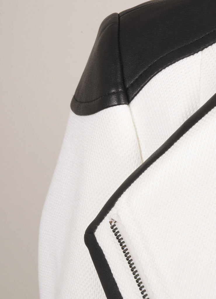 Boss Hugo Boss New With Tags White and Black Contrast Trim Waffle Knit Moto Jacket Detail