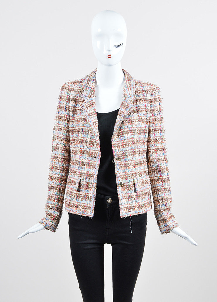 Multicolor Chanel Fantasy Tweed Floral Sequin Frayed Jacket Frontview
