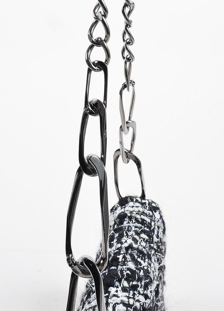 Black, White, and Grey Chanel Tweed 'CC' Logo Chain Strap Shoulder Bag Detail 2