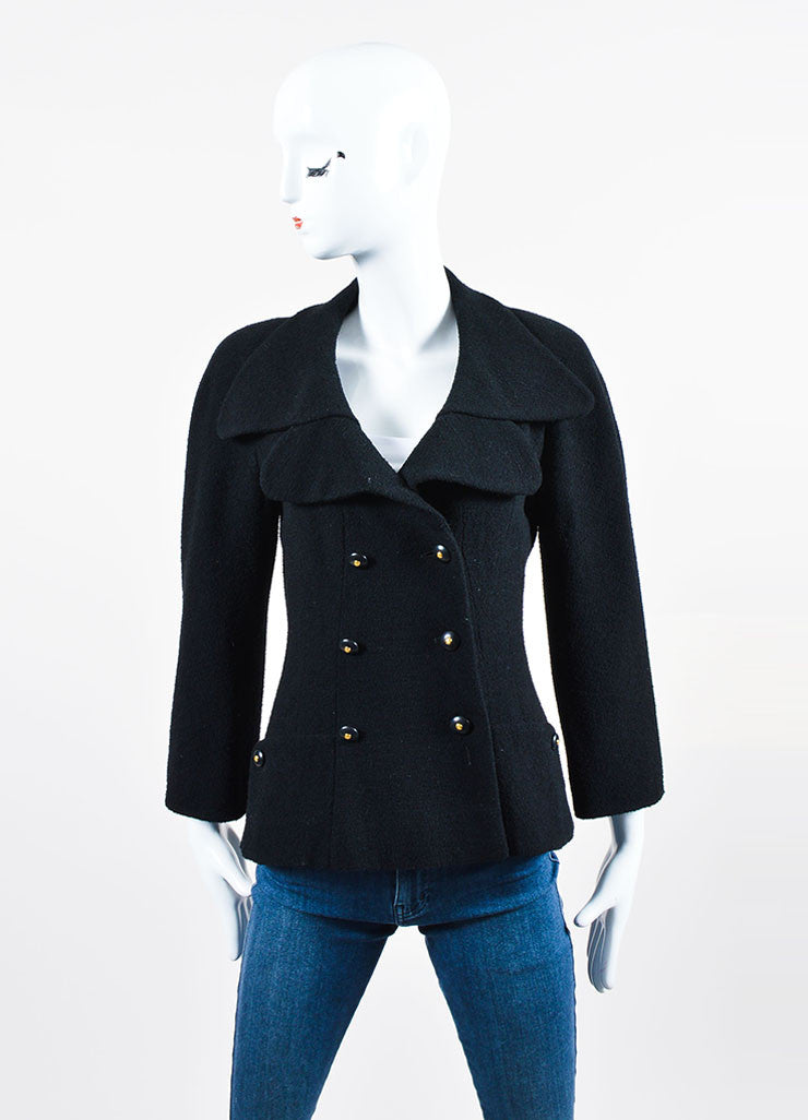 Black Chanel Wool Double Breasted Buttoned Jacket Frontview