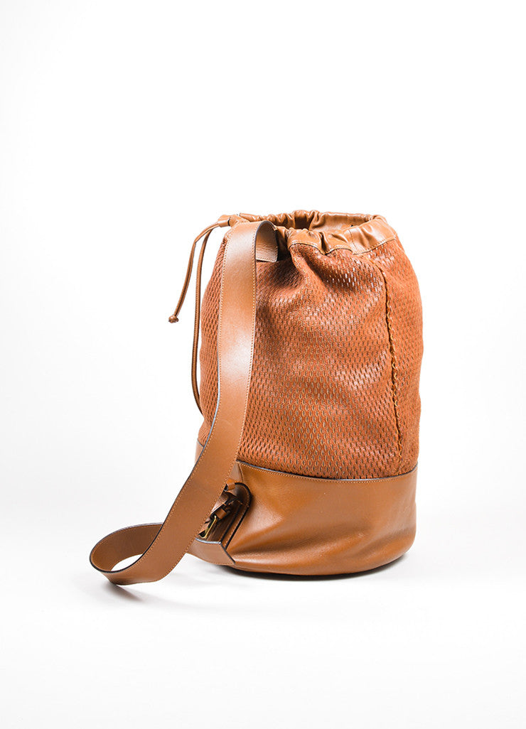 "Brown Chloe Perforated Leather ""Charlie"" Drawstring Sling Bag Backview"