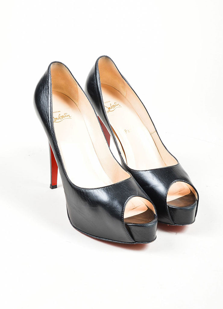 "Black Christian Louboutin Leather Peep Toe ""Hyper Prive 120"" Pumps Frontview"
