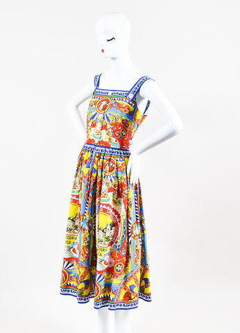 Dolce & Gabbana Multicolor Baroque Italian Print Button Dress Sideview