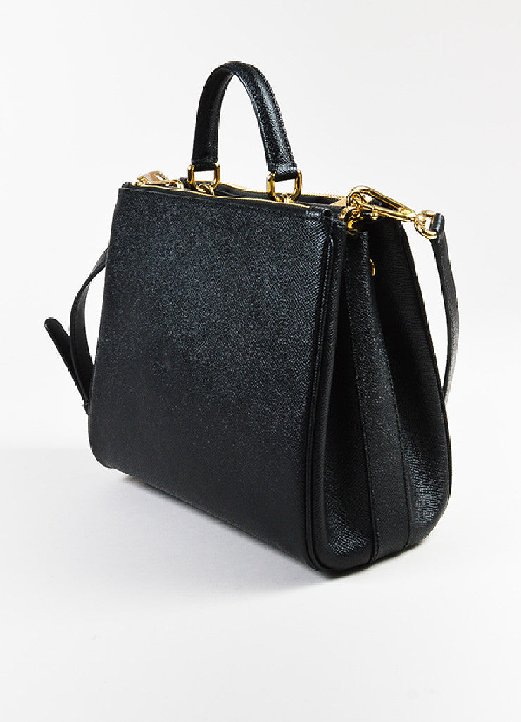Dolce & Gabbana Black Leather GHW Structured Multi Compartment Shoulder Bag Sideview