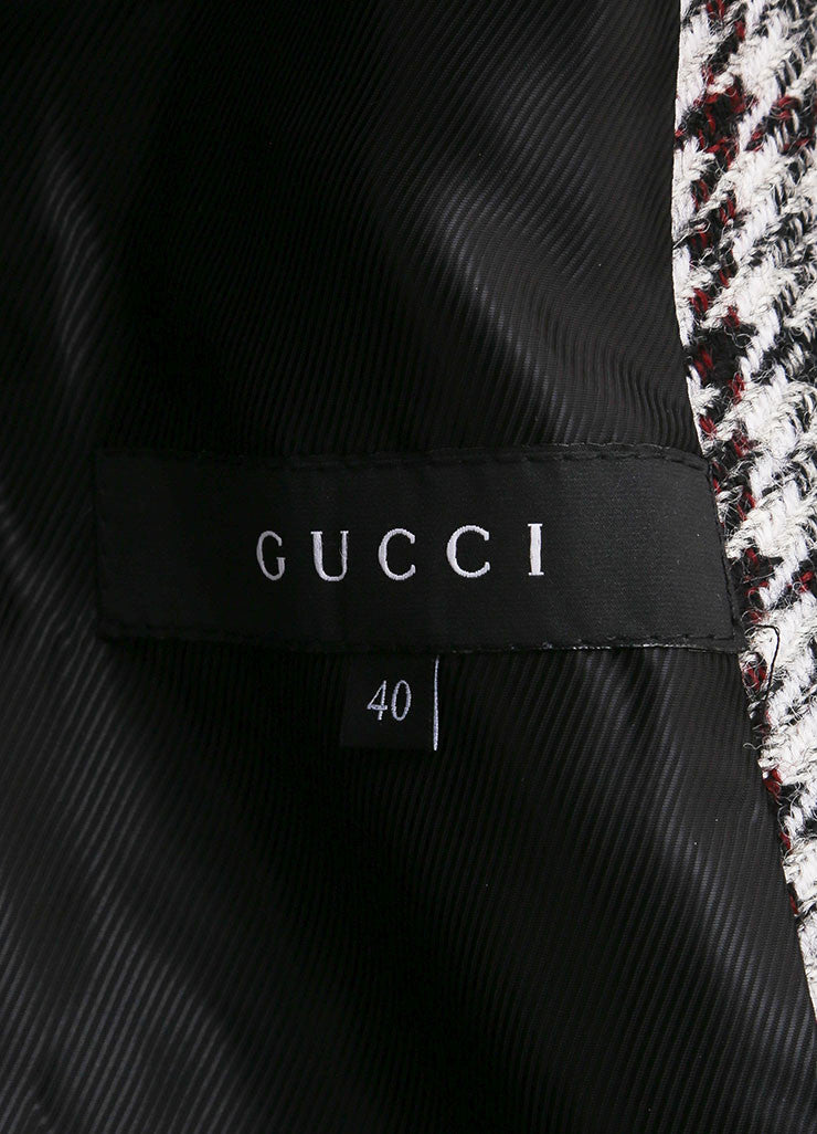 Gucci Black and White Houndstooth Hooded Fireman Coat Brand