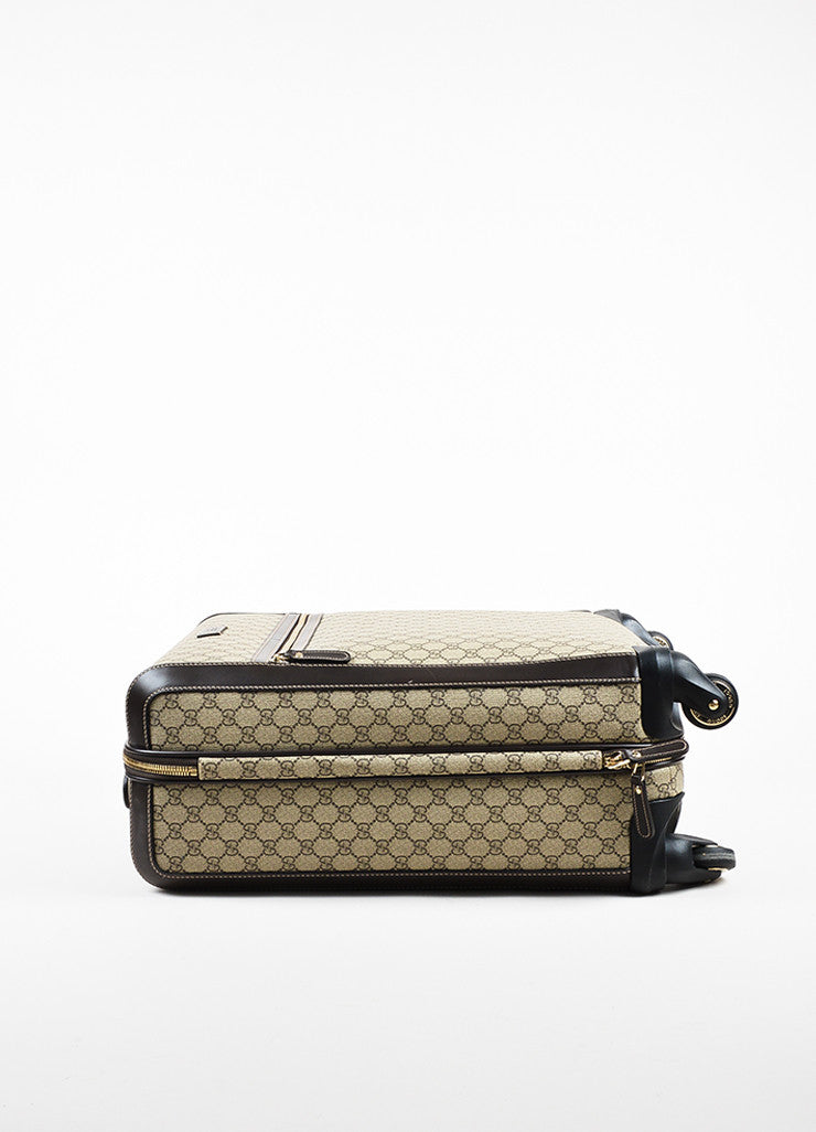 "Gucci Brown and Tan Coated Canvas ""GG Supreme Four Wheel Carry On"" Suitcase Sideview 2"