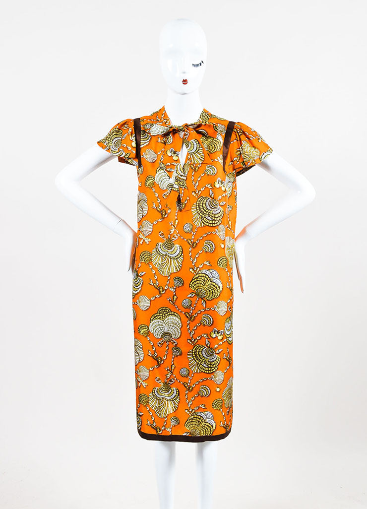 Gucci Orange and Brown Silk Shell Printed Neck Tie Short Sleeve Shift Dress Frontview