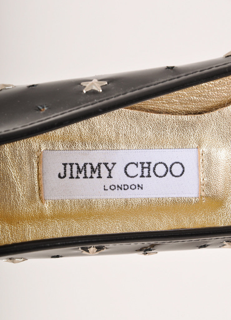 Jimmy Choo Black and Silver Toned Star Stud and Cut Out Patent Leather Flats Brand