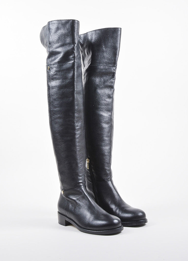 "Black Shiny Leather Jimmy Choo Over the Knee ""Deron"" Boots Frontview"