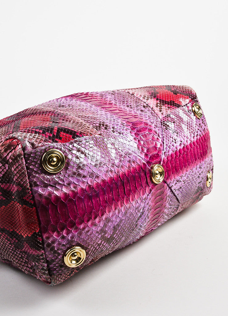Pink Red Jimmy Choo Python Snakeskin Bowler Bag Purse Detail