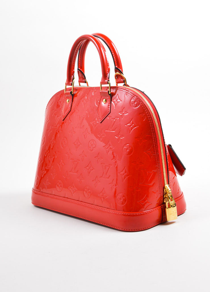 "Louis Vuitton Red Varnis Patent Leather Monogram ""Alma PM"" Satchel Handbag Sideview"