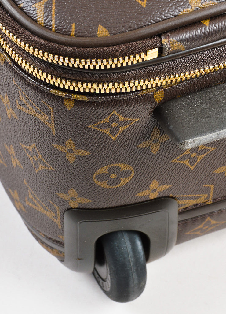 "Louis Vuitton Brown Coated Canvas Monogram ""Pegase Legere 45"" Rolling Suitcase Detail"