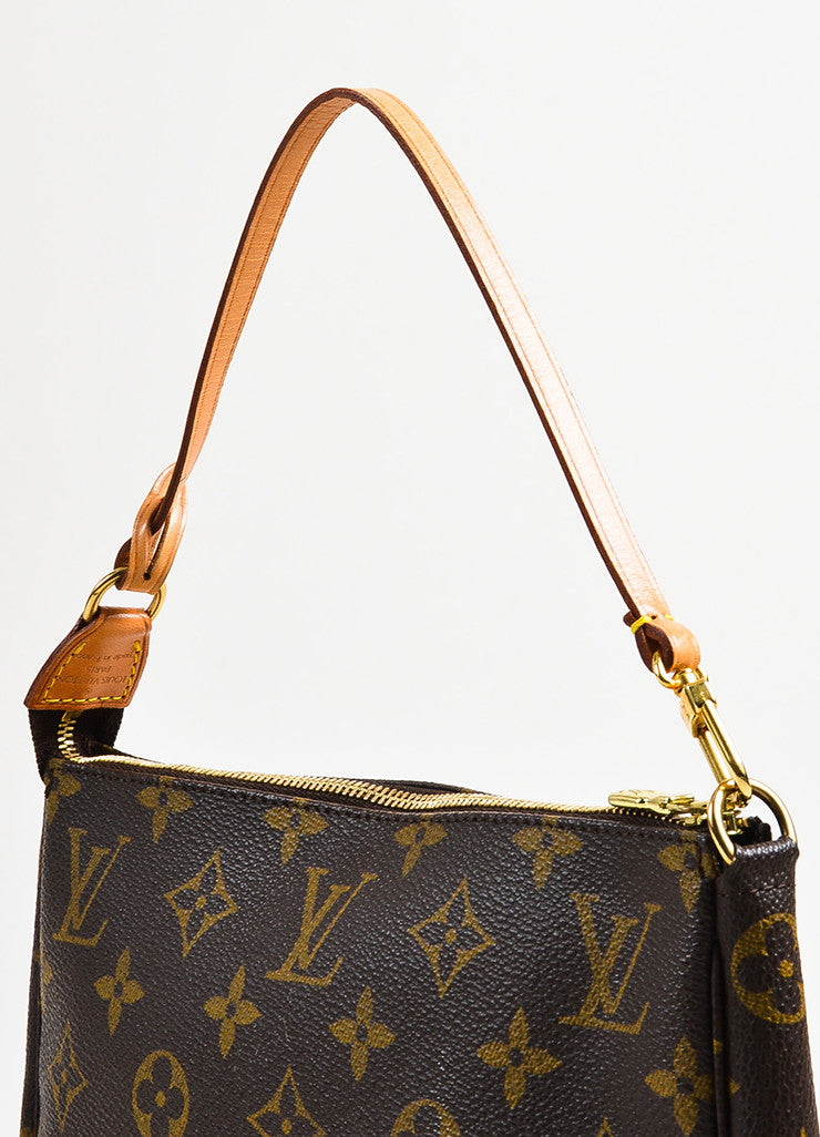 "Louis Vuitton Brown and Tan Coated Canvas Monogram ""Pochette Accessoires"" Bag Detail 2"