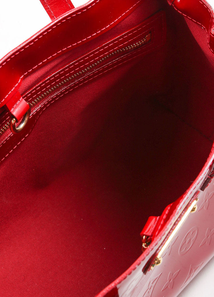 "Louis Vuitton Red Vernis Monogram Patent Leather ""Wilshire PM"" Satchel Handbag Interior"