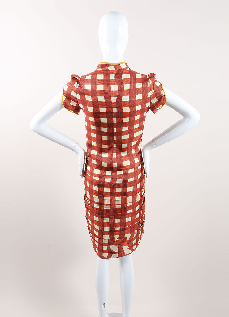 Prada Red, Cream, and Yellow Silk Plaid Patterned Pleated Short Sleeve Dress Backview