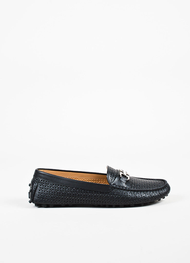 Salvatore Ferragamo Black Leather Perforated Driving Loafers Sideview