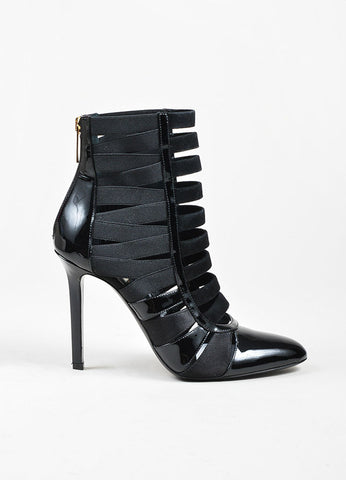 "Black Tamara Mellon Patent Leather, Satin, and Suede Caged ""Corset"" Boots Sideview"