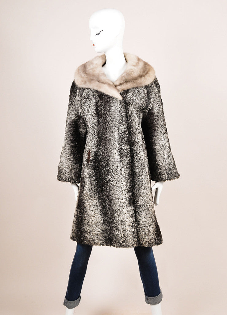 Schiaparelli Grey and White Fur Shawl Collar Coat Frontview