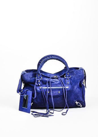 "Sapphire Blue Balenciaga Suede Leather ""Classic City"" Satchel Bag Frontview"