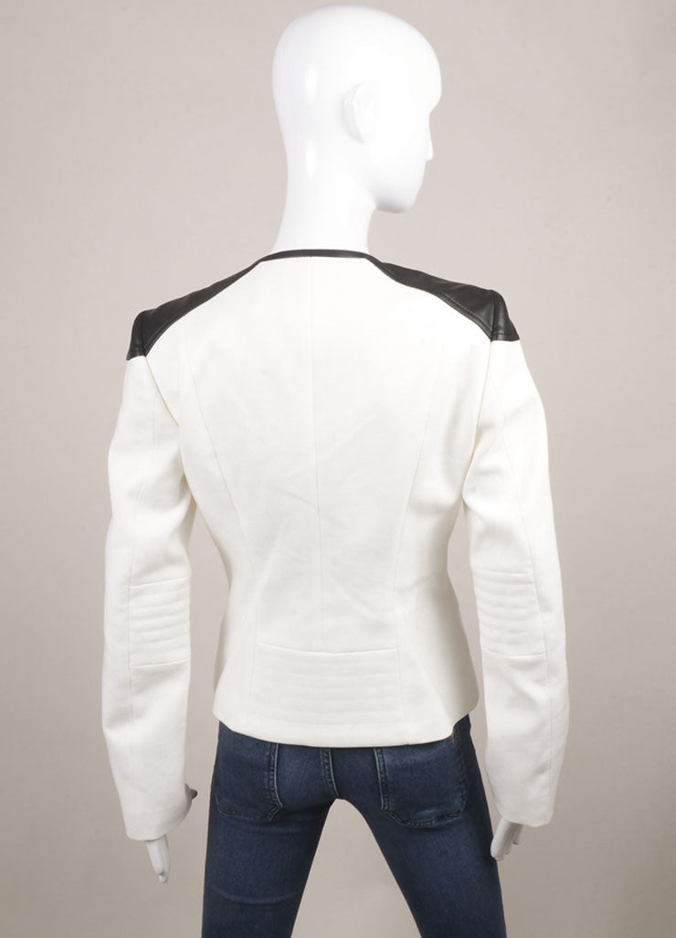 Boss Hugo Boss New With Tags White and Black Contrast Trim Waffle Knit Moto Jacket Backview