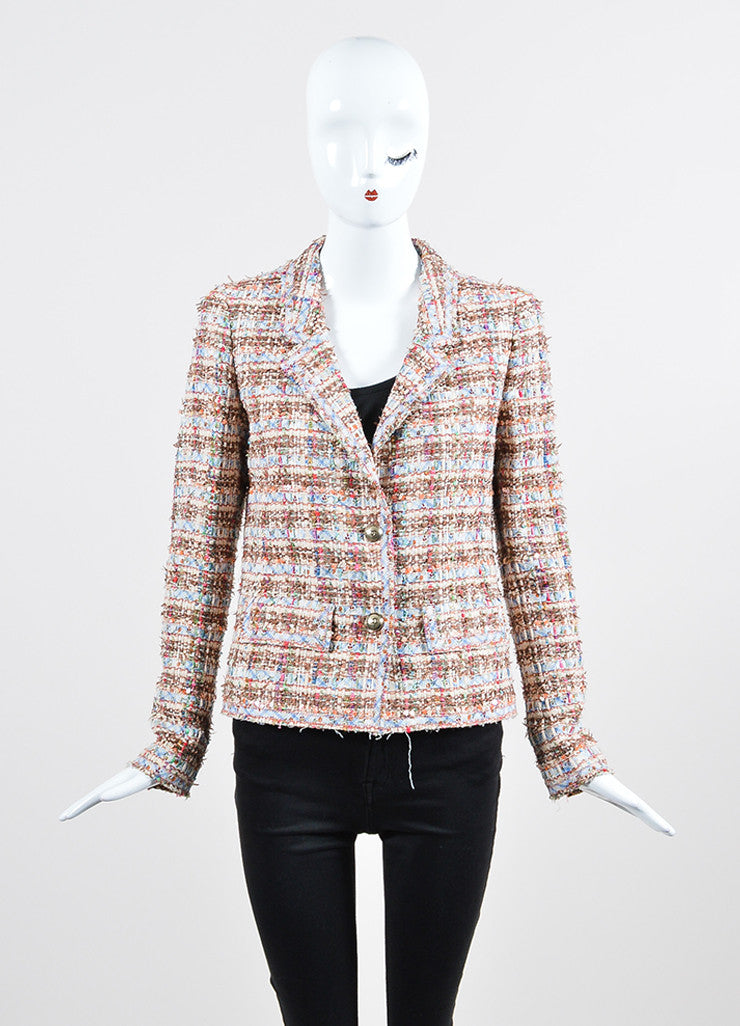 Multicolor Chanel Fantasy Tweed Floral Sequin Frayed Jacket Frontview 2