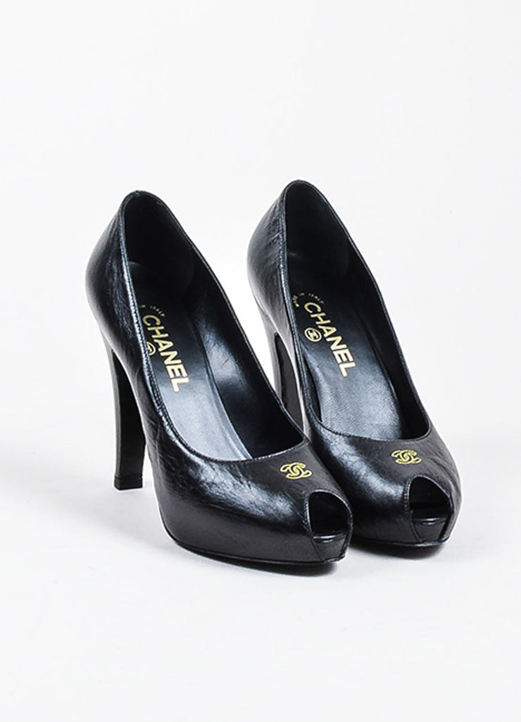 Black and Yellow Leather Chanel 'CC' Peep Toe Platform Pumps Frontview