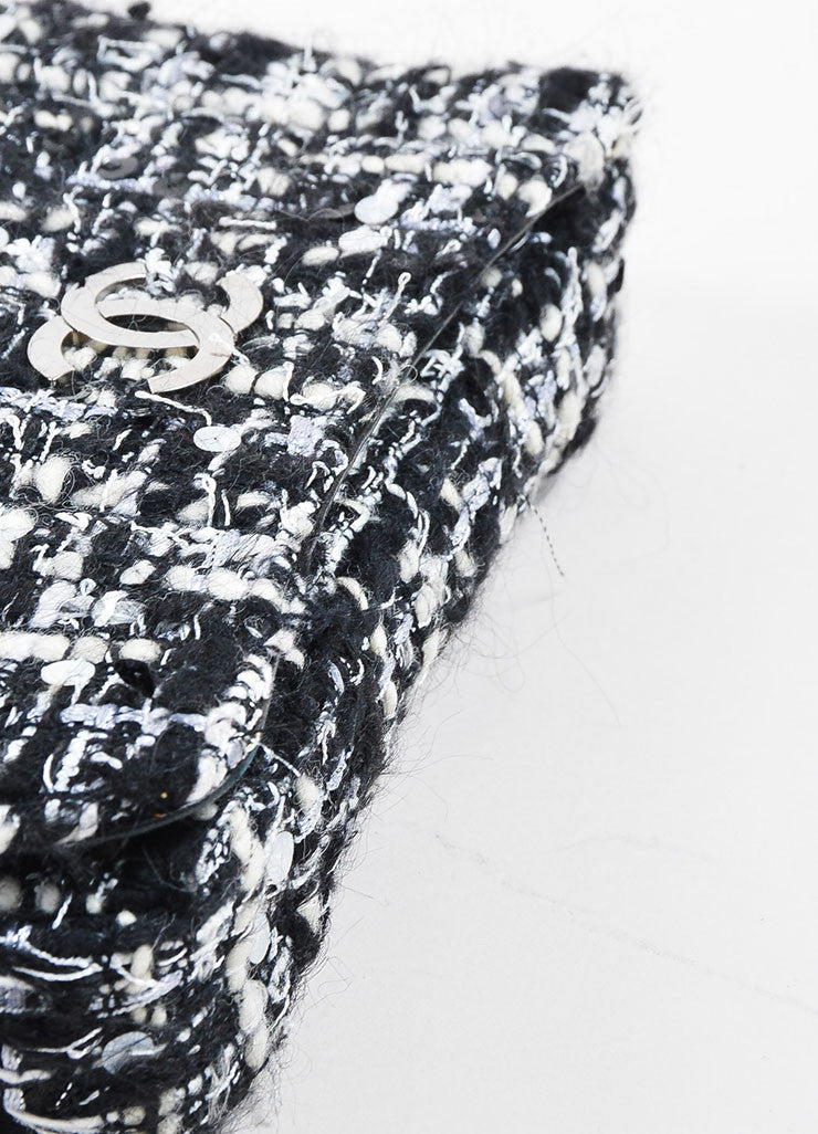 Black, White, and Grey Chanel Tweed 'CC' Logo Chain Strap Shoulder Bag Bottom View