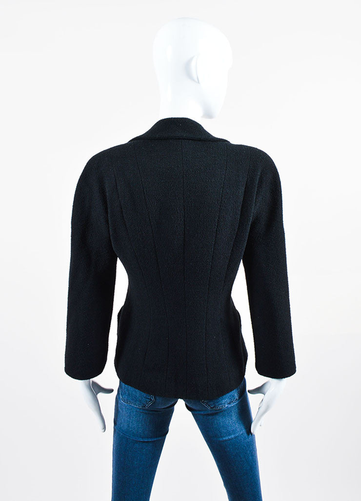 Black Chanel Wool Double Breasted Buttoned Jacket Backview