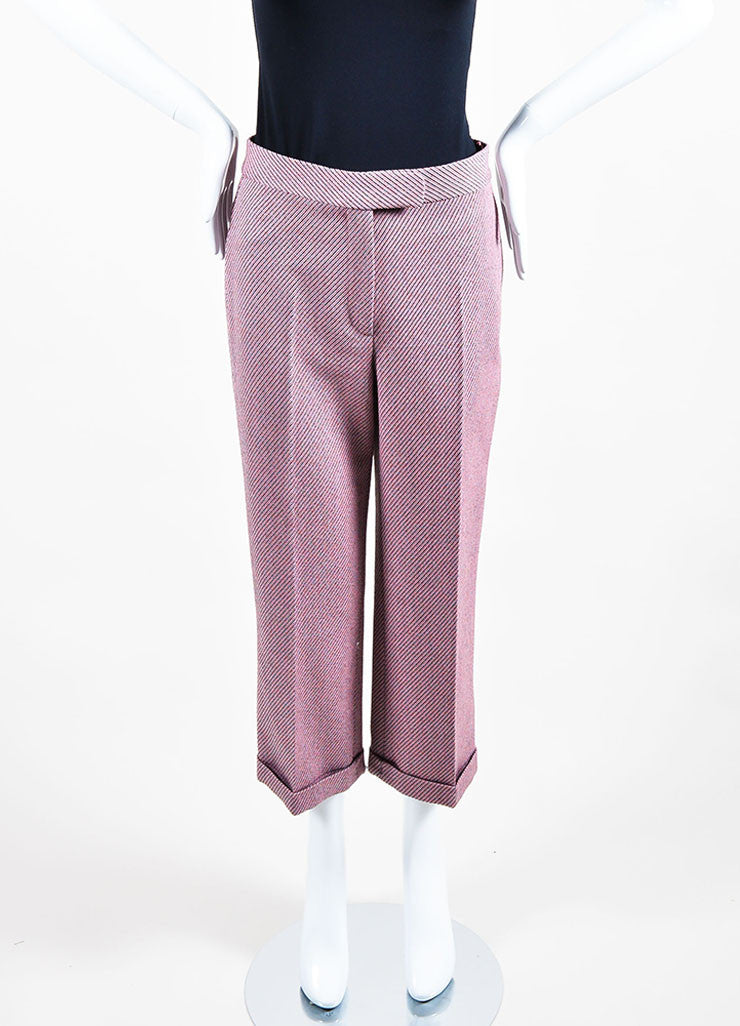 Pink Multicolor Christian Dior Wool Stripe Wide Leg Trouser Pants Frontview
