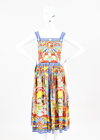 Dolce & Gabbana Multicolor Baroque Italian Print Button Dress Frontview