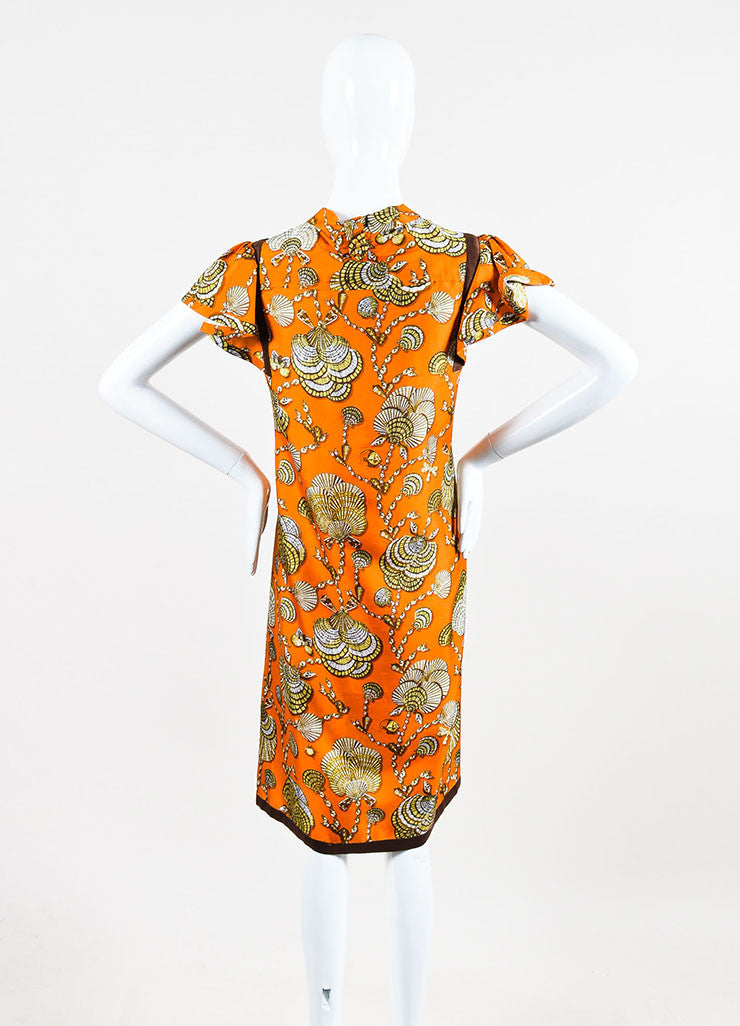 Gucci Orange and Brown Silk Shell Printed Neck Tie Short Sleeve Shift Dress Backview