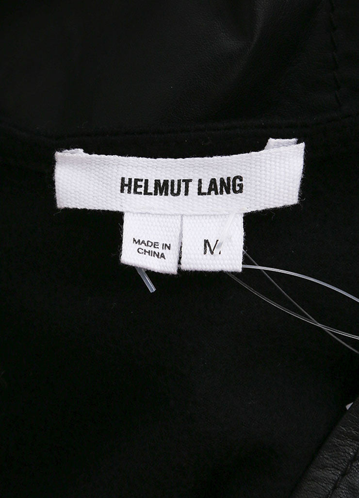 Helmut Lang Black Leather Wool Sleeve V-Neck Top Brand