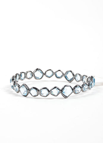 "Ippolita Black Rhodium, Blue Topaz, and Diamond ""Mini Hero"" Bangle Bracelet Frontview"