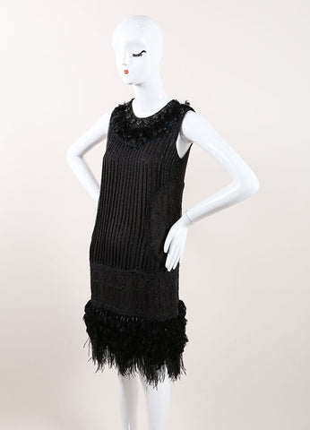 J. Mendel Black Bead and Feather Leather Applique Embellished Sleeveless Shift Dress Sideview