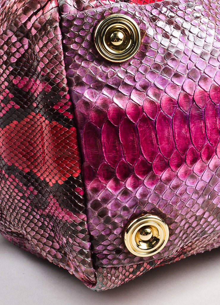 Pink Red Jimmy Choo Python Snakeskin Bowler Bag Purse Detail 2