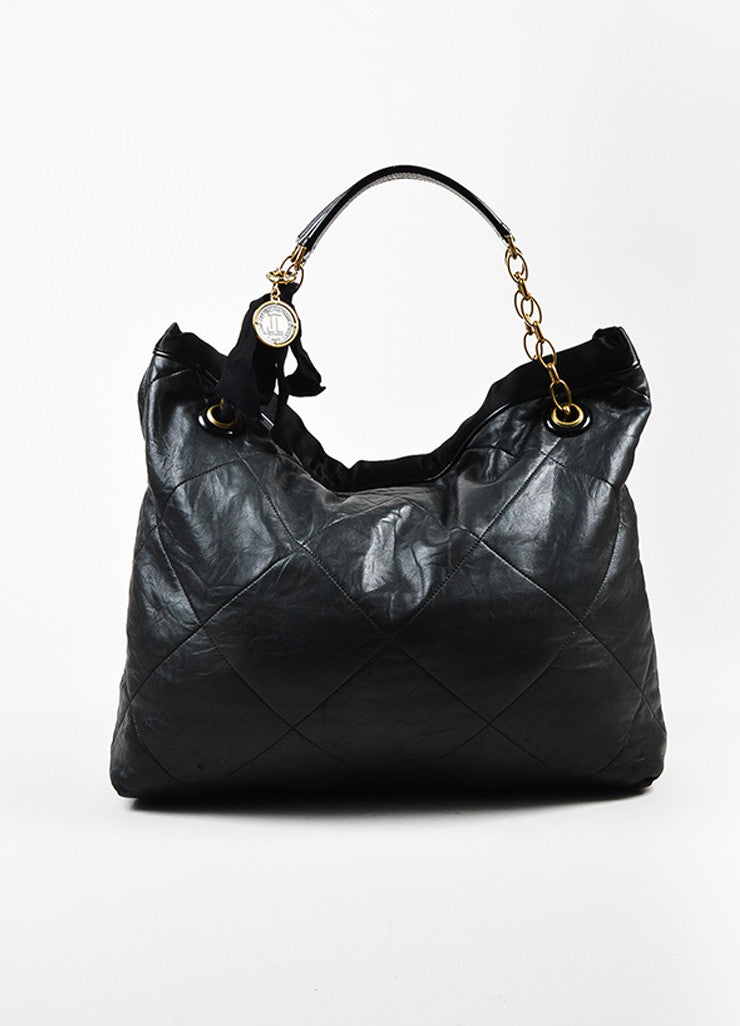 "Lanvin Black Quilted Leather Chain Ribbon Handle ""Amalia"" Shoulder Tote Bag Frontview"