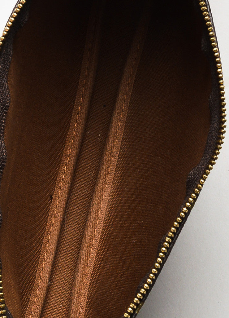 "Louis Vuitton Brown and Tan Coated Canvas Monogram ""Pochette Accessoires"" Bag Interior"