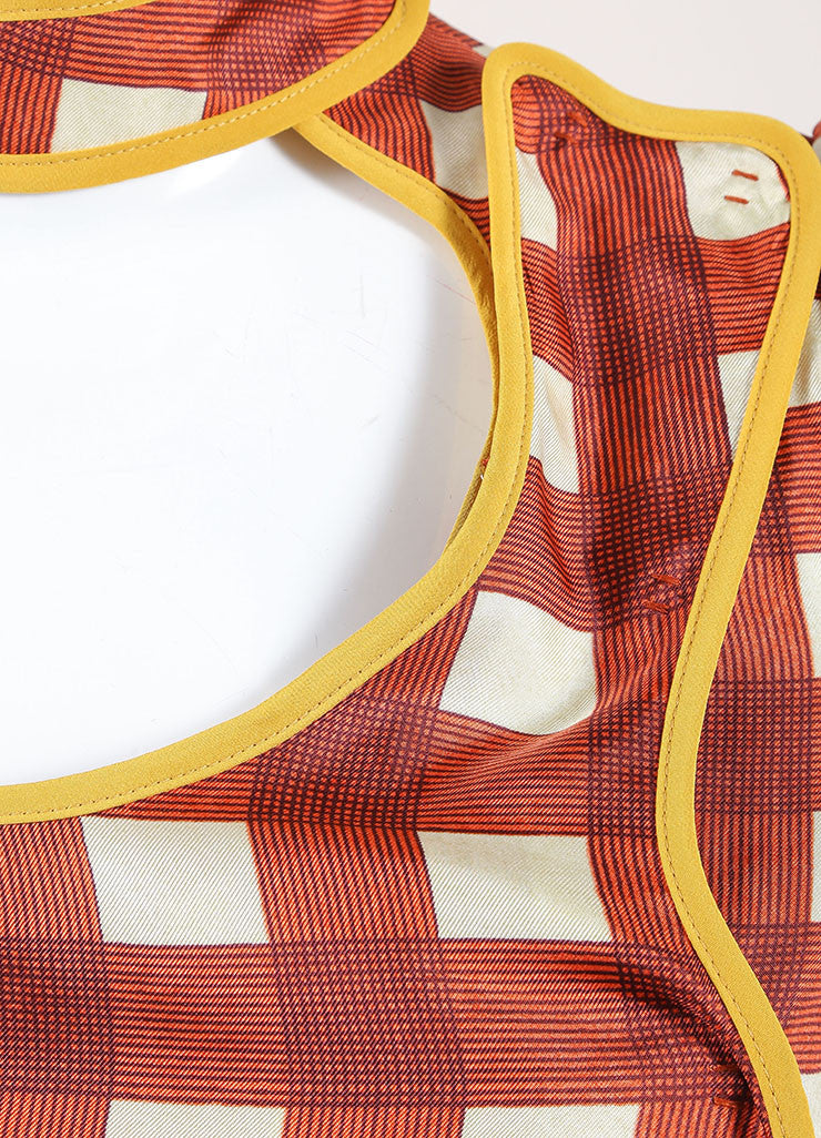 Prada Red, Cream, and Yellow Silk Plaid Patterned Pleated Short Sleeve Dress Detail