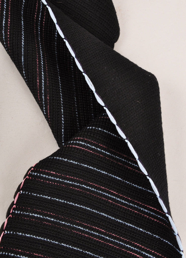 Sonia Rykiel New With Tags Black, Blue, and Pink Stripe Wool Blend Fringe Trim Scarf Detail 3