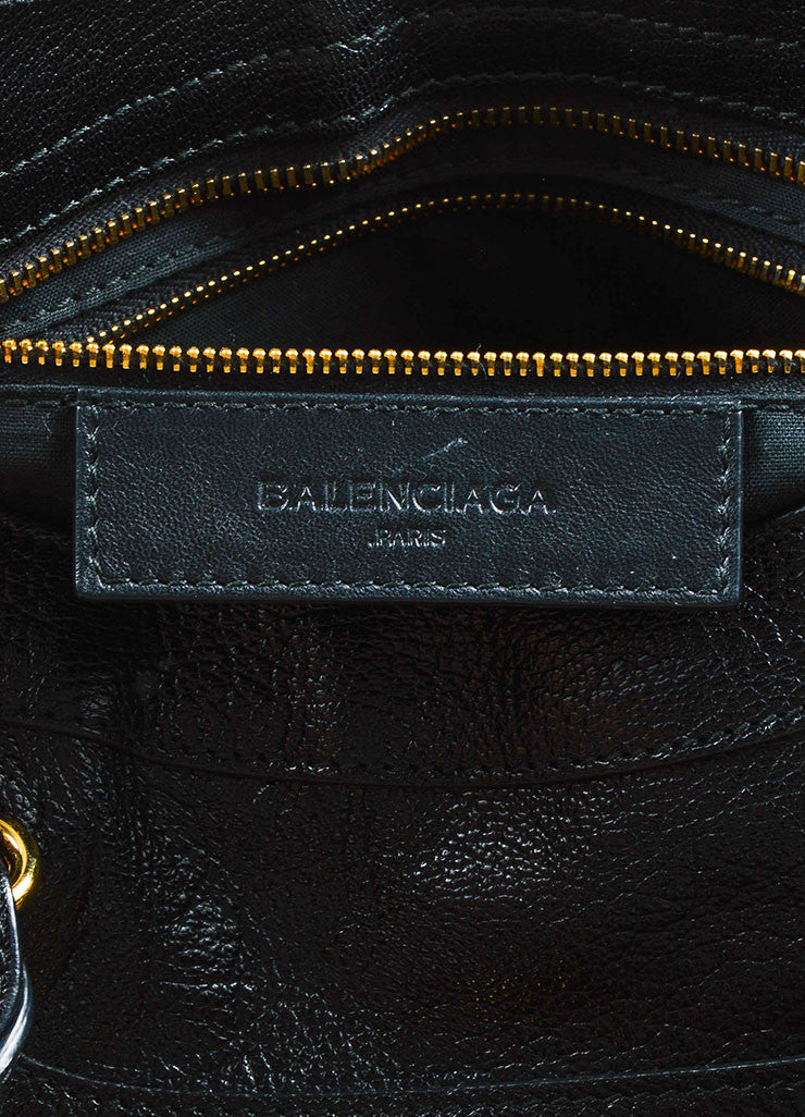 "Balenciaga Black Leather Gold Toned Hardware ""Metallic Edge City"" Shoulder Bag Brand"
