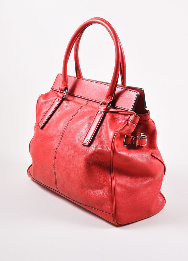Balenciaga Red and Silver Toned Turnlock Clasp Grained Leather Shoulder Bag Sideview