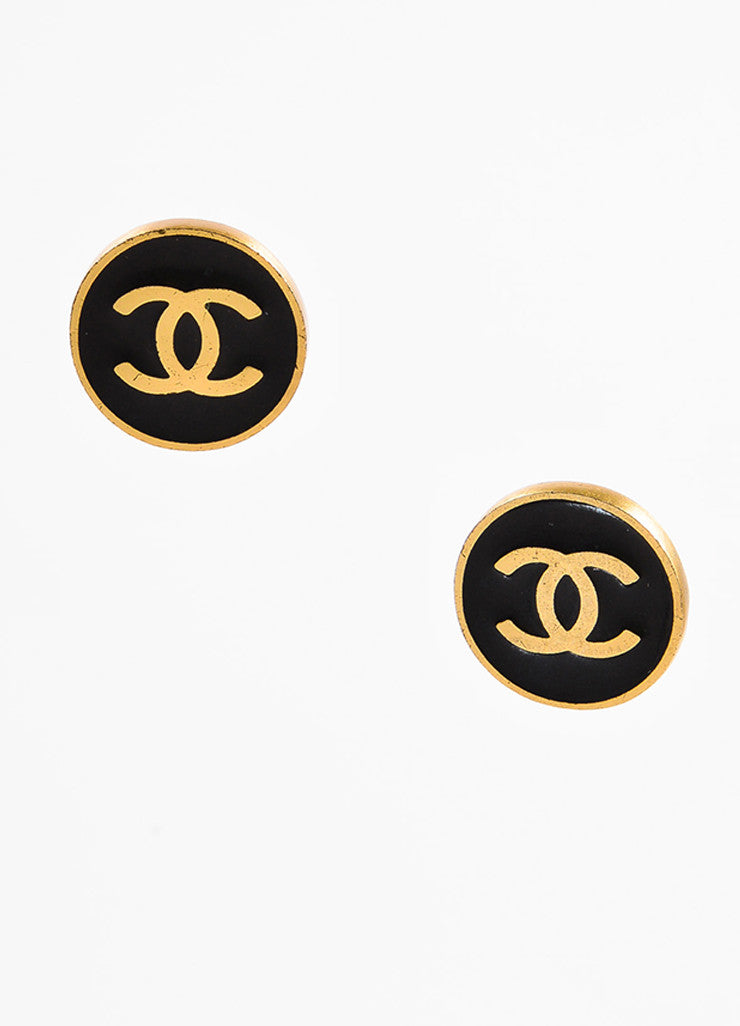Chanel Gold Toned and Black Enamel Coated 'CC' Round Clip On Earrings Frontview