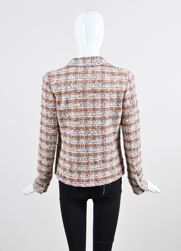 Multicolor Chanel Fantasy Tweed Floral Sequin Frayed Jacket Backview