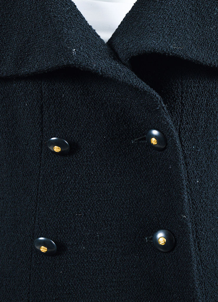 Black Chanel Wool Double Breasted Buttoned Jacket Detail