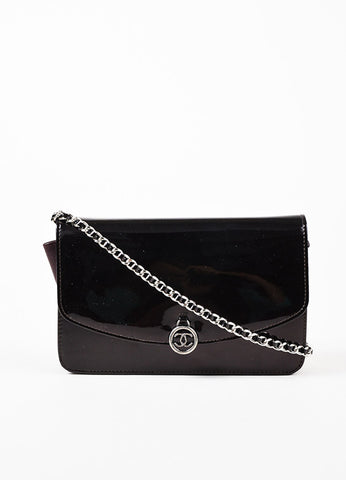"Chanel Eggplant Patent Leather Silver Toned Metal Chain ""WOC"" Flap Shoulder Bag Frontview"