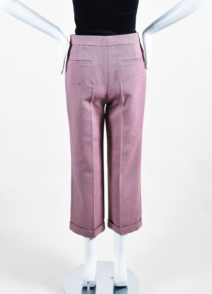 Pink Multicolor Christian Dior Wool Stripe Wide Leg Trouser Pants Backview