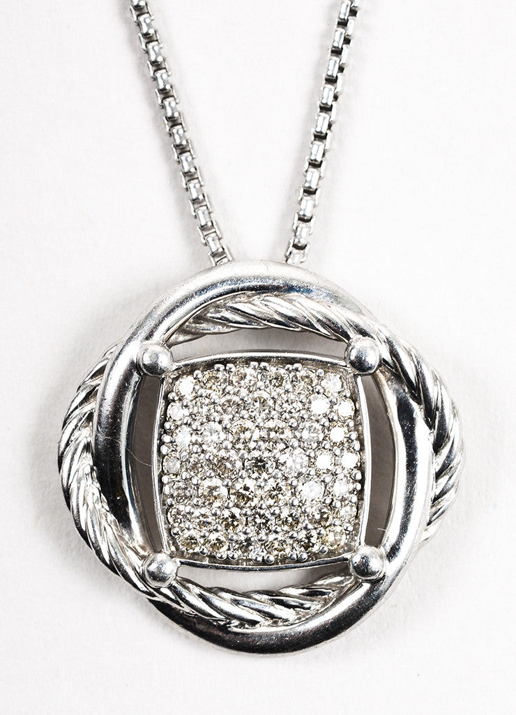 "David Yurman Sterling Silver Diamond ""Infinity"" Pendant Necklace Detail"